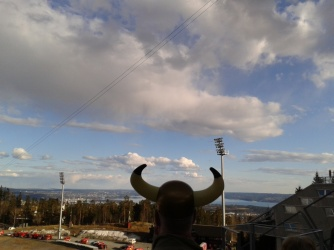 A view from the big ski jump (including horns!)