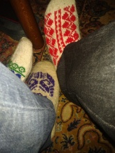 Very cool slippers we got to wear at a party