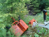 Brush cutter and gas tank (and a christmas tree)