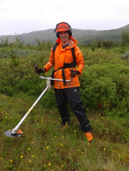 Posing with the brush cutter #2