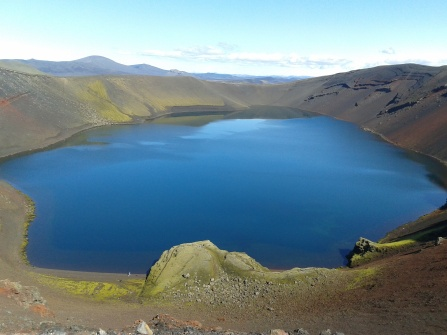 A volcanic lake at the site of a crater