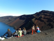 Sitting on the edge of the volcanic lake